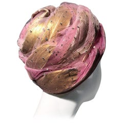 1960s Christian Dior Beeehive Turban Style Hat In Pink Tulle & Gold Feathers