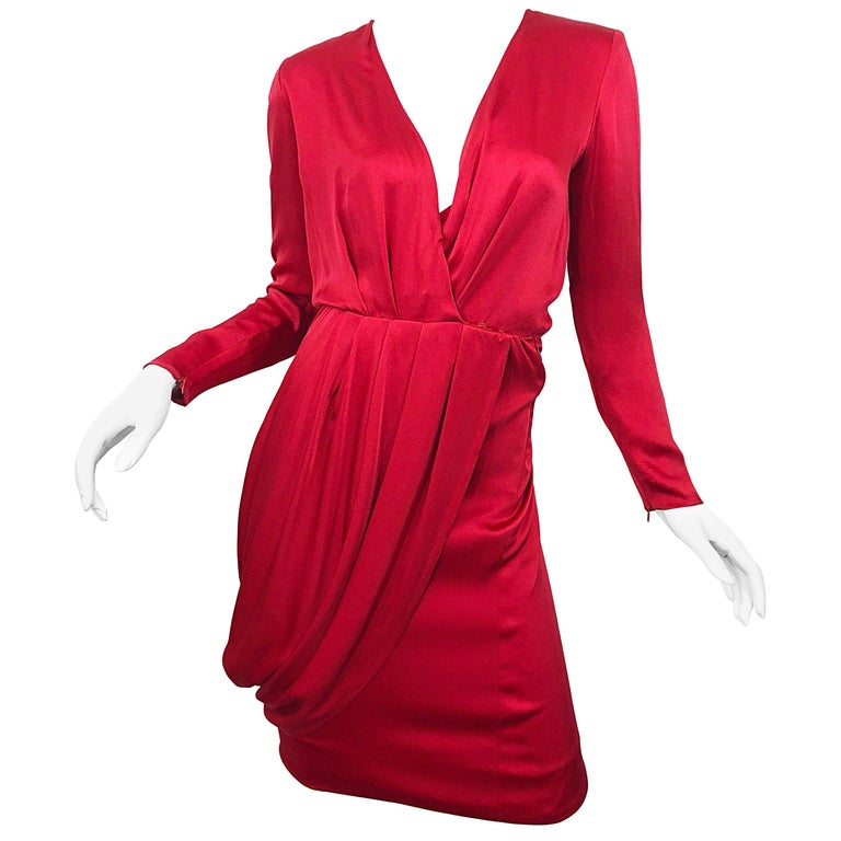 Vintage Givenchy Couture by Alexander McQueen Sz 36 Lipstick Red Silk Cape Dress For Sale