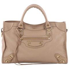 Balenciaga City Classic Studs Metallic Edge Handbag Leather Medium