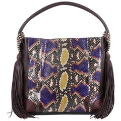 Christian Louboutin Eloise Fringe Hobo Python with Leather Medium