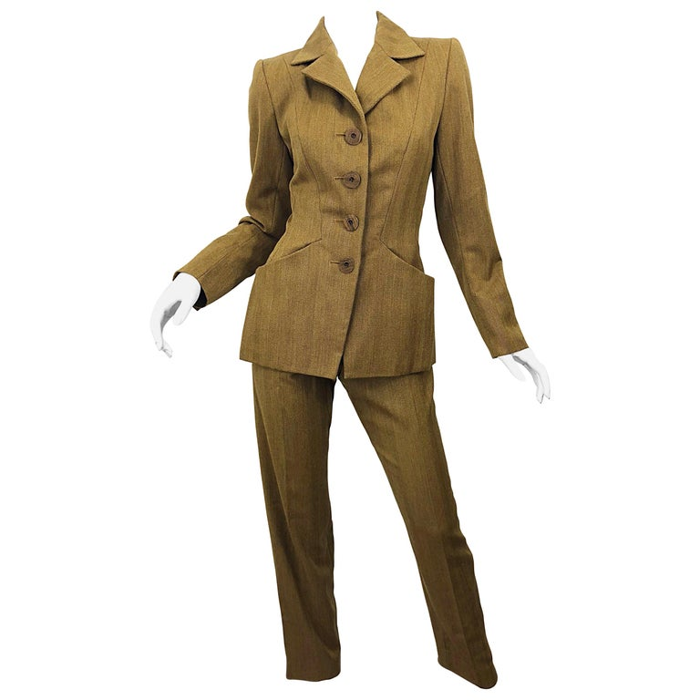 e46102df053 Vintage Yves Saint Laurent Size 36 Le Smoking Camel Brown Women's YSL Pant  Suit For Sale