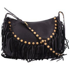 Valentino C-Rockee Fringe Hobo Studded Leather Large