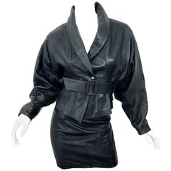 1980s Marc Laurent Paris Black Leather Avant Garde 80s Jacket + Mini Skirt Suit