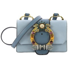 cc8007d4524a Miu Miu Madras Crystal Buckle Shoulder Bag Leather Small
