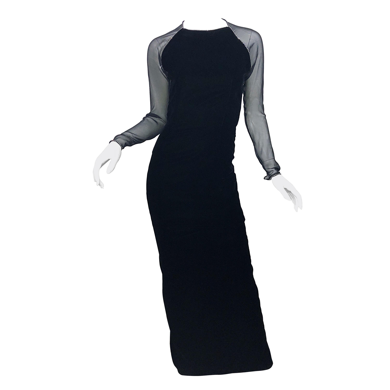 Vintage Oscar de la Renta Black Size 4 Silk Velvet 90s Rhinestone Open Back Gown