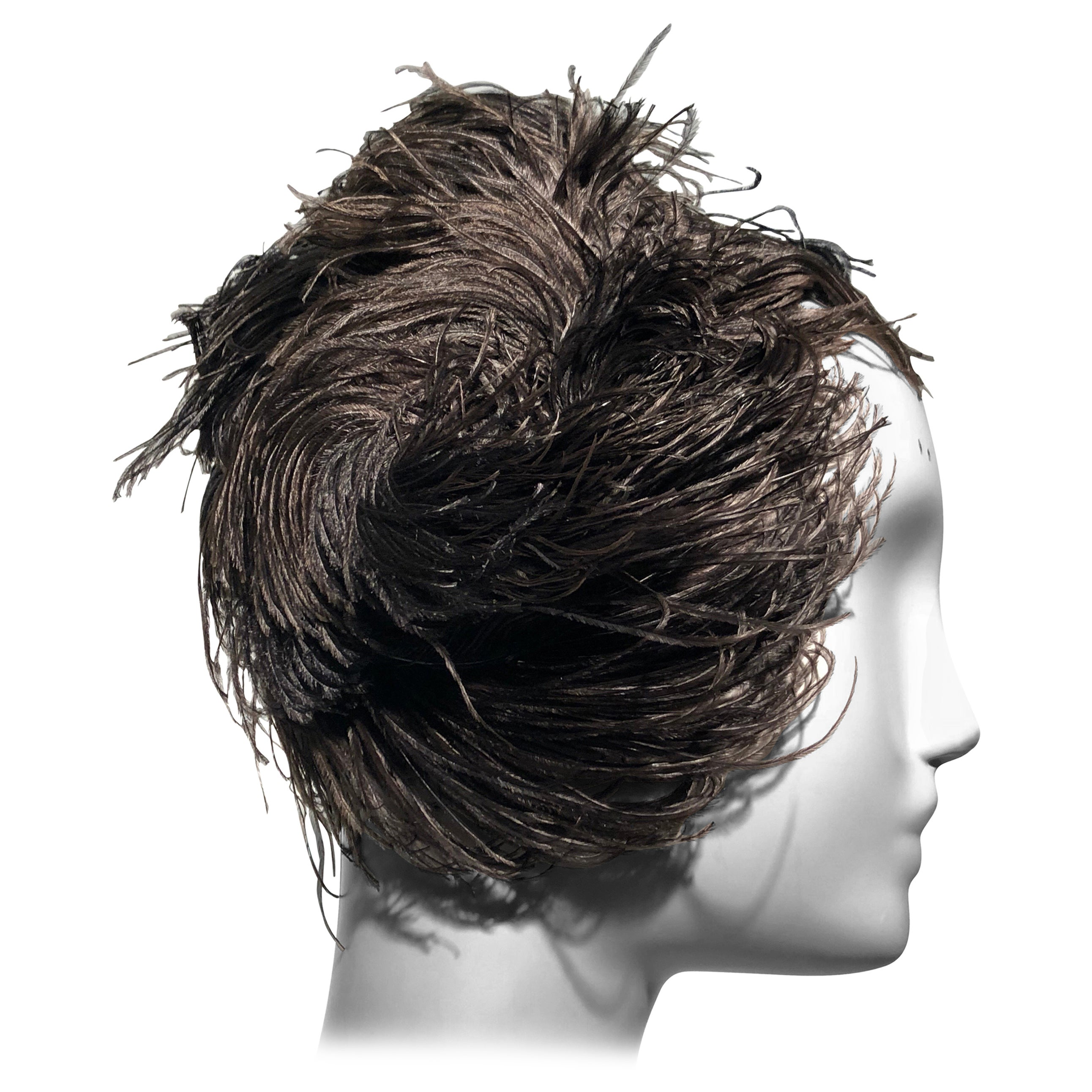 1950s Christian Dior Ballet-Inspired Black Ostrich Feather Cocktail Hat