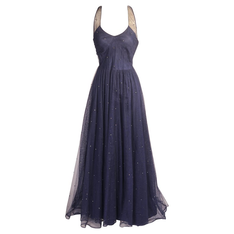 1930's Navy Blue Tulle Evening Gown with Diamante Decoration For Sale