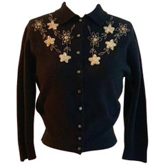 Schiaparelli Soft Black Floral Beaded Embellished Cardigan Sweater, 1960s
