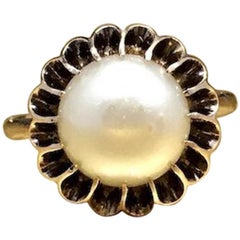 Antique 1800s Early Victorian 10K Rose Gold 9.74mm Natural Pearl Engagement Ring