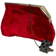 Red Velvet Evening Clutch with Onyx Closure and Chained Mirror, 1950s