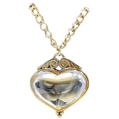 Antique 1800s Gilded Sterling Silver Heart Shaped Rock Crystal Christmas Pendant