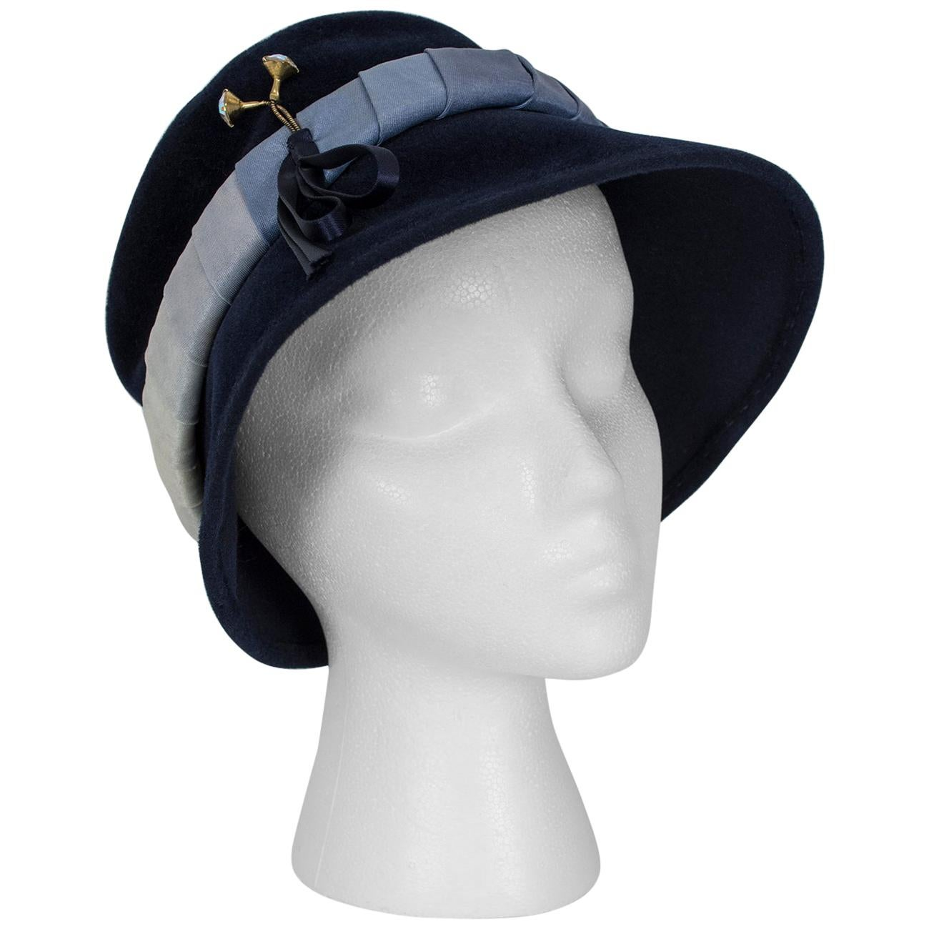 Navy Bucket Hat with Silk Ombré Band - France, 1950s