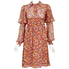1969 Alice Pollock Documented Floral Cotton Flutter Sleeve Smocked Empire Dress