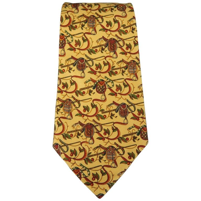 SALVATORE FERRAGAMO Gold Saddle Print Silk Tie For Sale