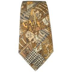 HERMES Gold XV Century Print Silk Tie