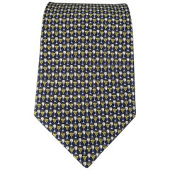 SALVATORE FERRAGAMO Navy Wine Glass & Grapes Print Silk Tie
