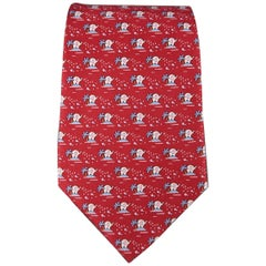 SALVATORE FERRAGAMO Red Elephant & Palm Tree Print Silk Tie