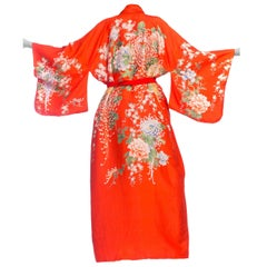1960s Hand-Printed Orange Japanese Silk Kimono Robe