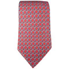 HERMES Red & Blue Chain Print Silk Tie