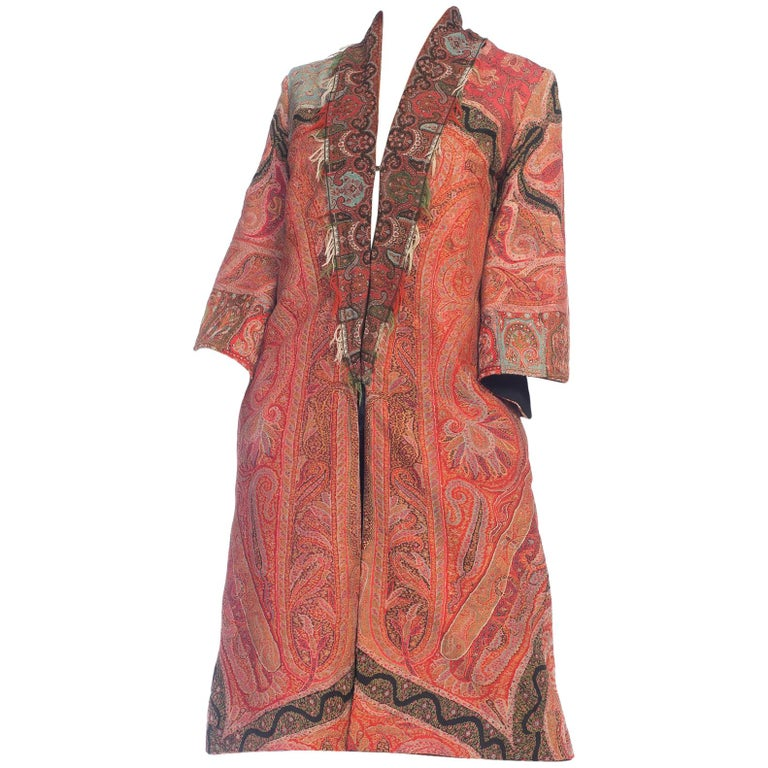 Hand Embroidered Coat Made From Antique Victorian Wool Paisley Shawls  For Sale