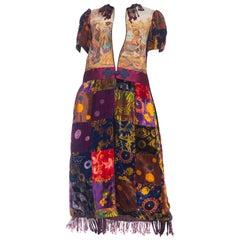 MORPHEW COLLECTION 1970S Patchwork Velvet & Japanese Musicians Tapestry Duster