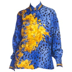 1990S GIANNI VERSACE Blue Silk Baroque Leopard Print Shirt With Gold Buttons