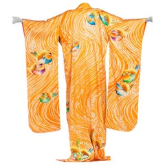 Hand Embroidered Japanese Silk Kimono In Orange With With Birds & Waves