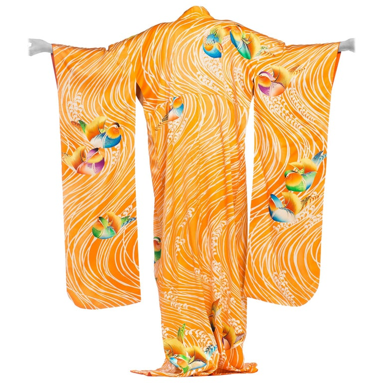 Hand Embroidered Japanese Silk Kimono In Orange With With Birds & Waves  For Sale