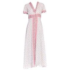 1930S Pink & Blue Floral Cotton Voile Bias Cut Negligee Slip Dress Robe