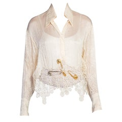 1990s Gianni Versace Punk Collection Crystal Safety Pin Lace Blouse