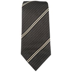 PRADA Black & White Diagonal Stripe Silk Tie