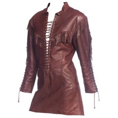 1980s Western Cowgirl Leather Dress With Fringe