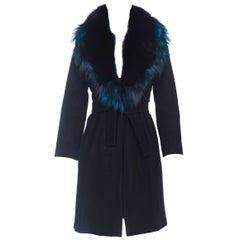 1990s Roberto Cavalli Italian Wool Coat With Blue Fox Collar