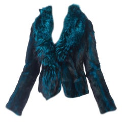 1990s Roberto Cavalli Blue & Black Mink & Fox Fur Jacket NWT