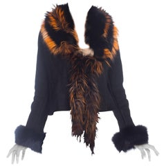 1990s Roberto Cavalli Shearling Jacket With Orange Fox Fur Collar NWT