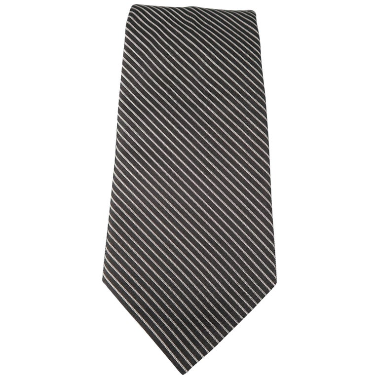 DIOR HOMME Black & Silver Diagonal Stripe Silk Tie For Sale