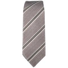 DOLCE & GABBANA Silver Diagonal Stripe Skinny Silk Tie