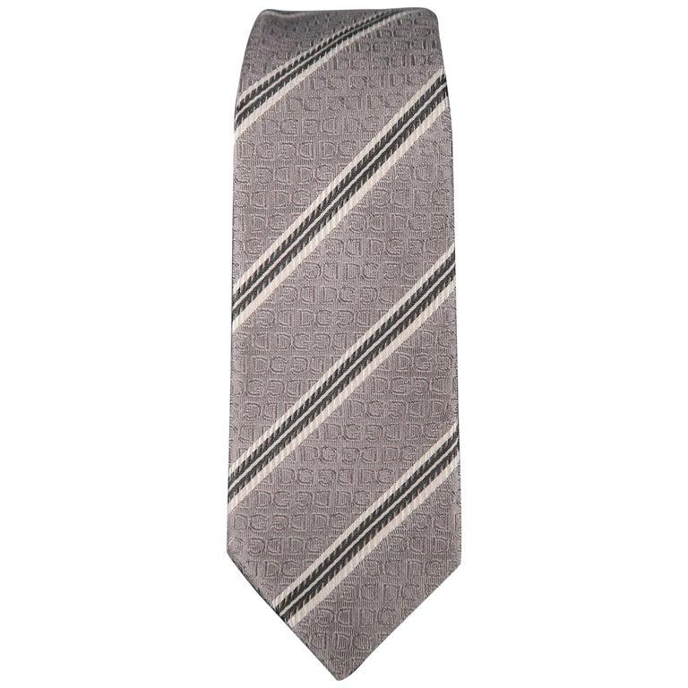 DOLCE & GABBANA Silver Diagonal Stripe Skinny Silk Tie For Sale