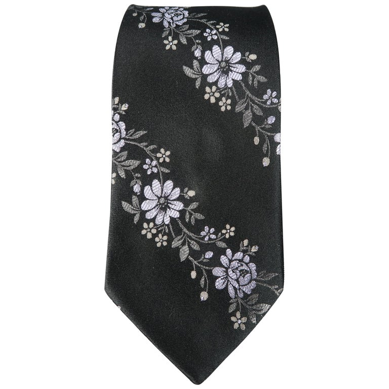 VALENTINO Black Lavender Flowers Silk Floral Tie For Sale