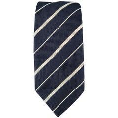 GIORGIO ARMANI Navy Diagonal Stripe Silk Tie