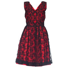 1950s Red Cotton Dress With Black Chantilly Lace