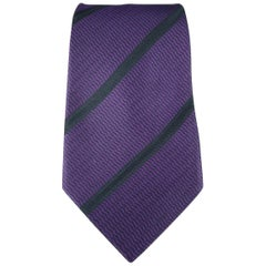 GIANNI VERSACE Purple Black Diagonal Stripes Silk Tie