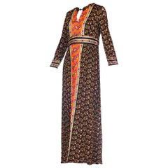 1970s Slinky Jersey Floral Maxi Dress