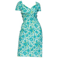 1950s Floral Cotton Dress With Draped Neckline