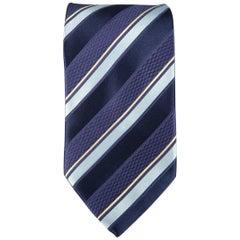 ERMENEGILDO ZEGNA Navy Diagonal Stripe Silk Tie