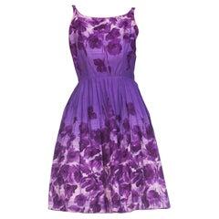 1950S Purple Cotton Floral Dress With Pockets