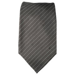 GUCCI Dark Gray Diagonal Stripe Silk Tie