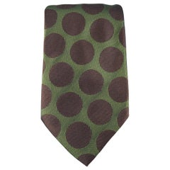 CHARVET Olive & Brown Polka Dots Silk Tie