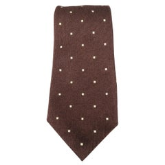 LUIGI BORRELLI Brown Dotted Cashmere Silk Tie