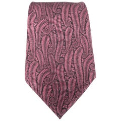TOM FORD Dark Pink Floral Leaf Print Cashmere - Silk Wide Tie
